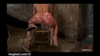 Bound babe to a chair with perfect ass toyed an…