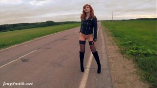 Jeny Smith public nudity on the road