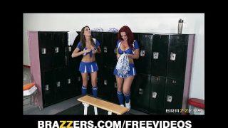 Two HOT lesbian cheerleaders start an orgy in the locker room